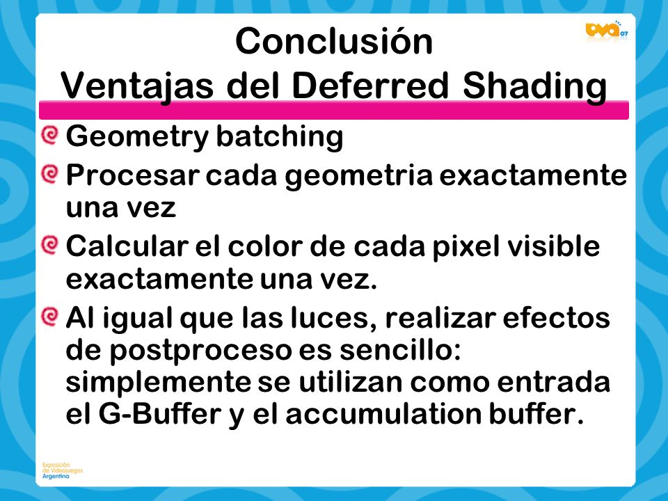 Conclusión Ventajas del Deferred Shading