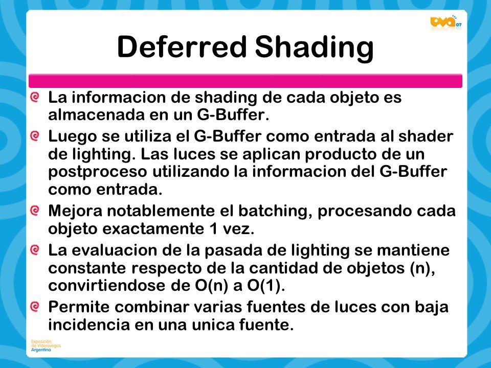 Deferred Shading La informacion de shading de cada objeto es almacenada en un G-Buffer.