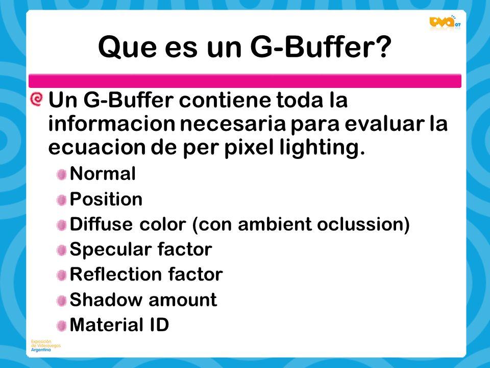 Que es un G-Buffer Un G-Buffer contiene toda la informacion necesaria para evaluar la ecuacion de per pixel lighting.