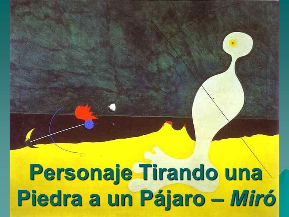 Personaje Tirando una Piedra a un Pájaro – Miró