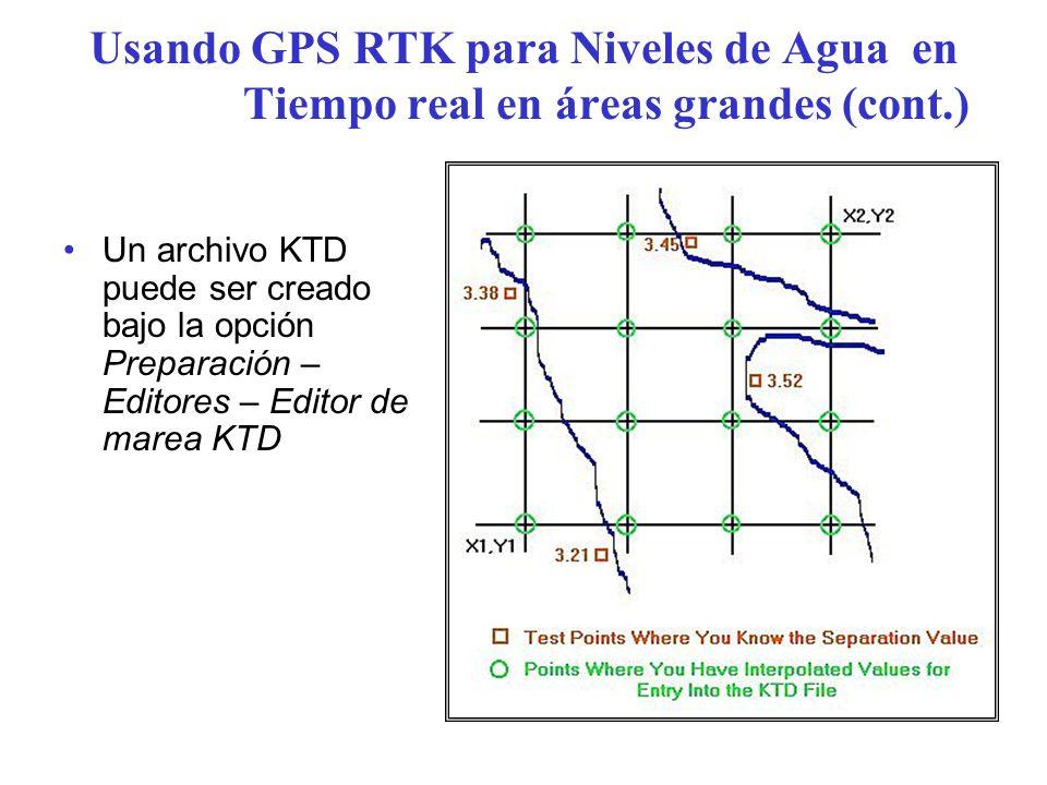Usando GPS RTK para Niveles de Agua en Tiempo real en áreas grandes (cont.)