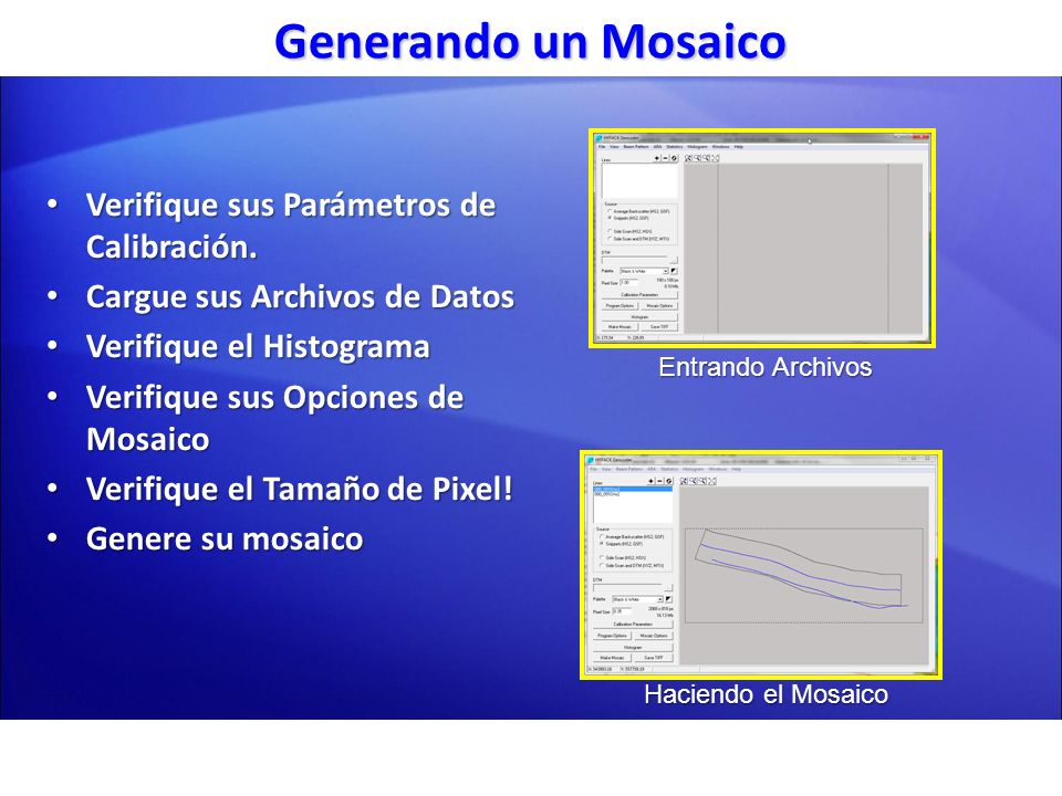 Generando un Mosaico Verifique sus Parámetros de Calibración.