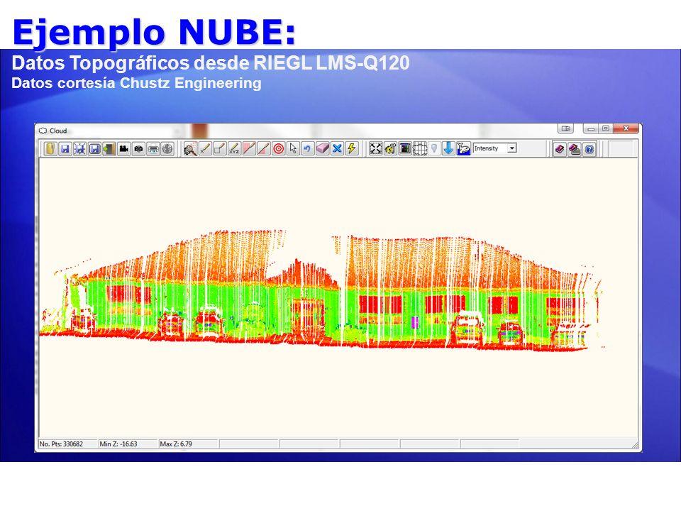 Ejemplo NUBE: Datos Topográficos desde RIEGL LMS-Q120 Datos cortesía Chustz Engineering