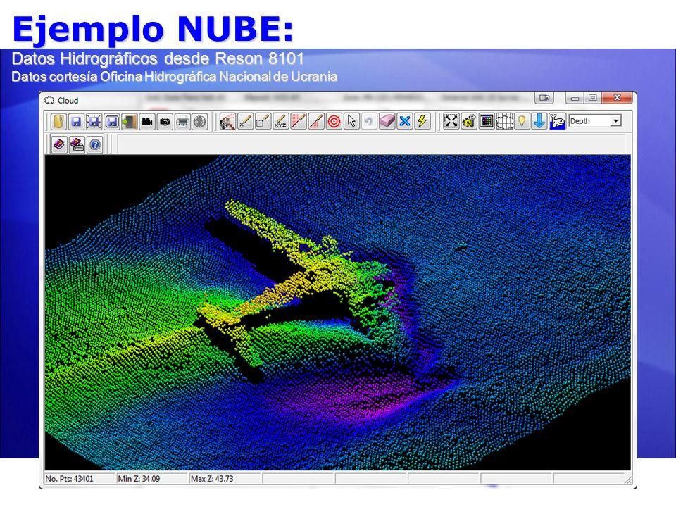 Ejemplo NUBE: Datos Hidrográficos desde Reson 8101 Datos cortesía Oficina Hidrográfica Nacional de Ucrania