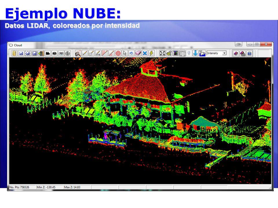 Ejemplo NUBE: Datos LIDAR, coloreados por intensidad