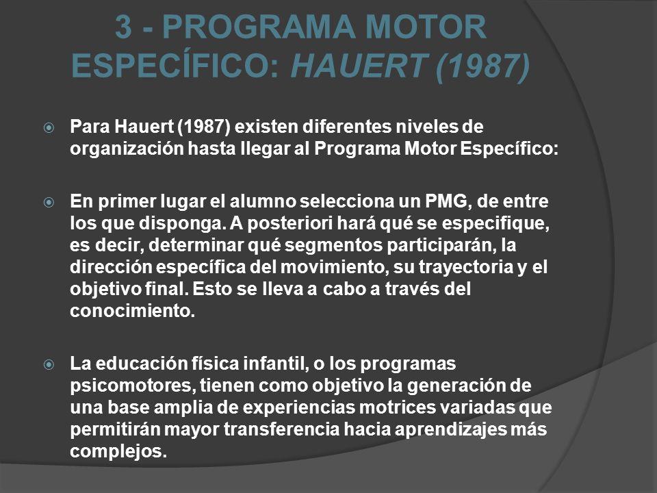3 - PROGRAMA MOTOR ESPECÍFICO: HAUERT (1987)