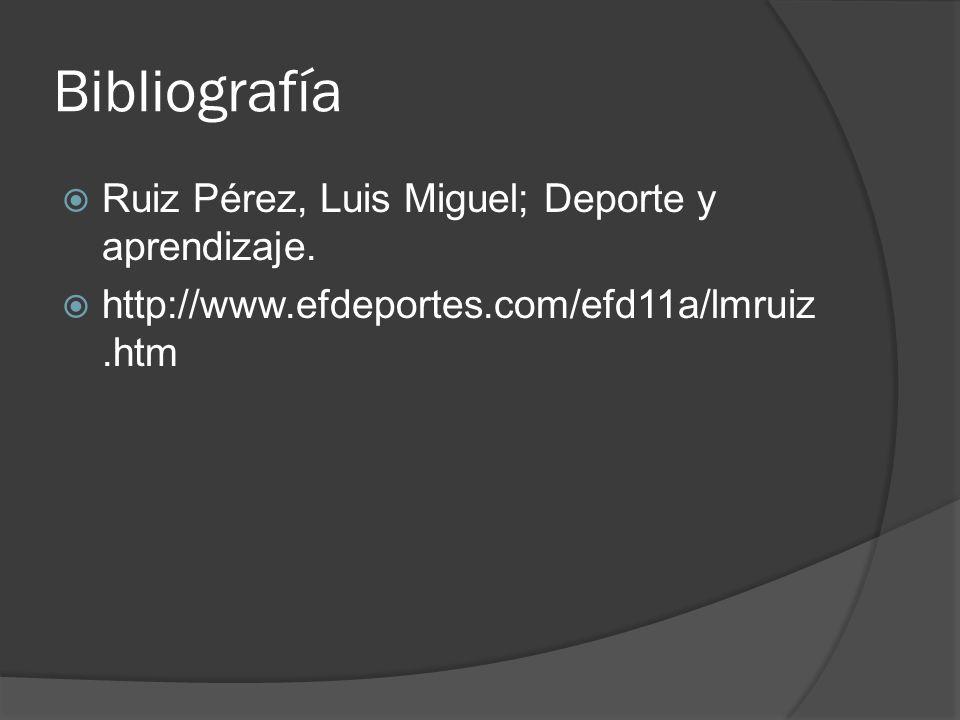 Bibliografía Ruiz Pérez, Luis Miguel; Deporte y aprendizaje.