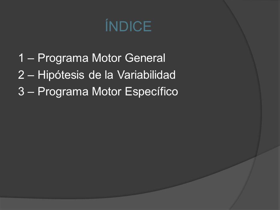 ÍNDICE 1 – Programa Motor General 2 – Hipótesis de la Variabilidad
