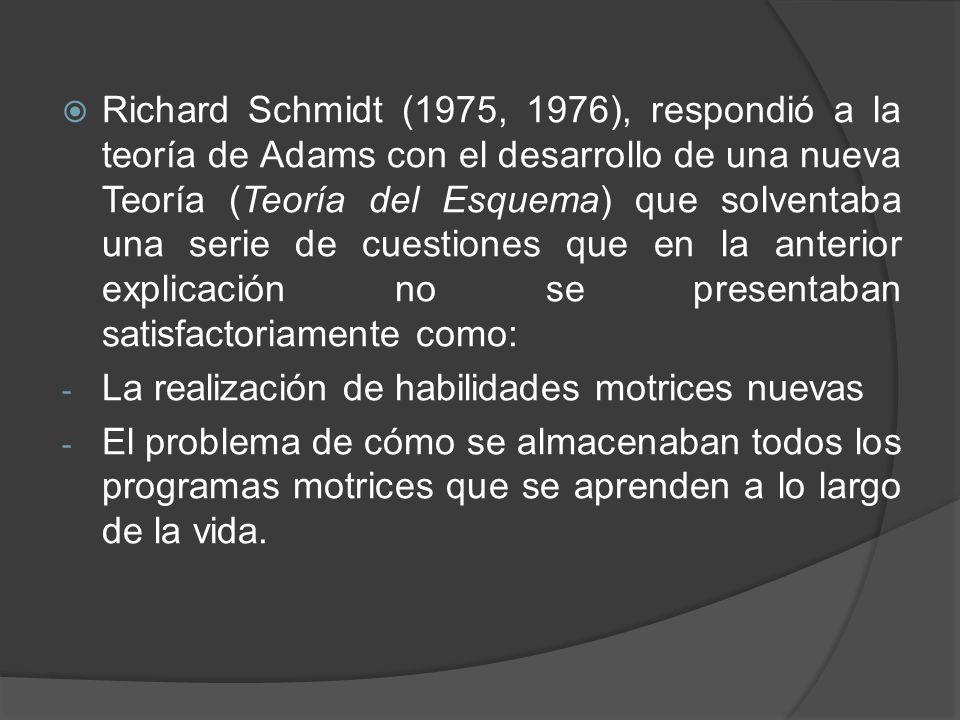 Richard Schmidt (1975, 1976), respondió a la teoría de Adams con el desarrollo de una nueva Teoría (Teoría del Esquema) que solventaba una serie de cuestiones que en la anterior explicación no se presentaban satisfactoriamente como: