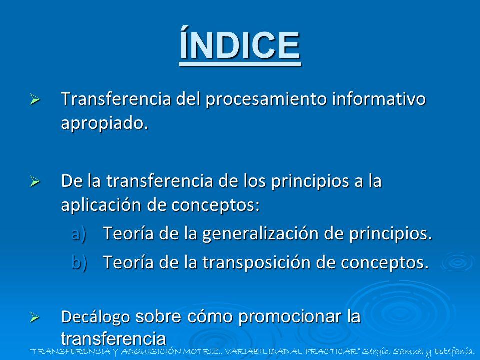 ÍNDICE Transferencia del procesamiento informativo apropiado.