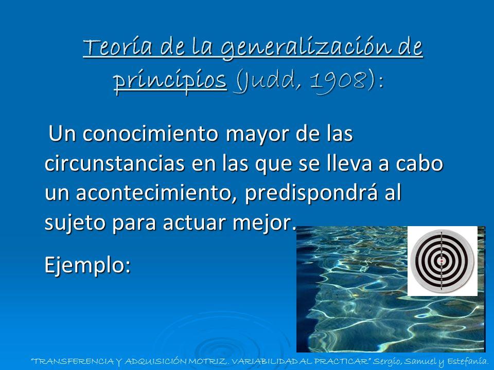 Teoría de la generalización de principios (Judd, 1908):