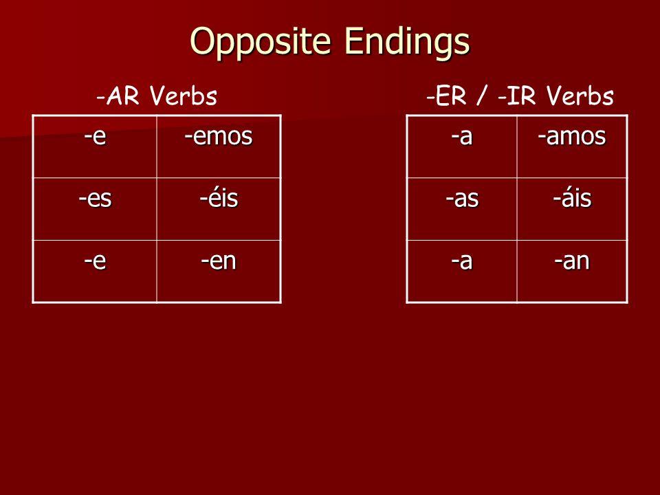 Opposite Endings -AR Verbs -ER / -IR Verbs -e -emos -es -éis -en -a