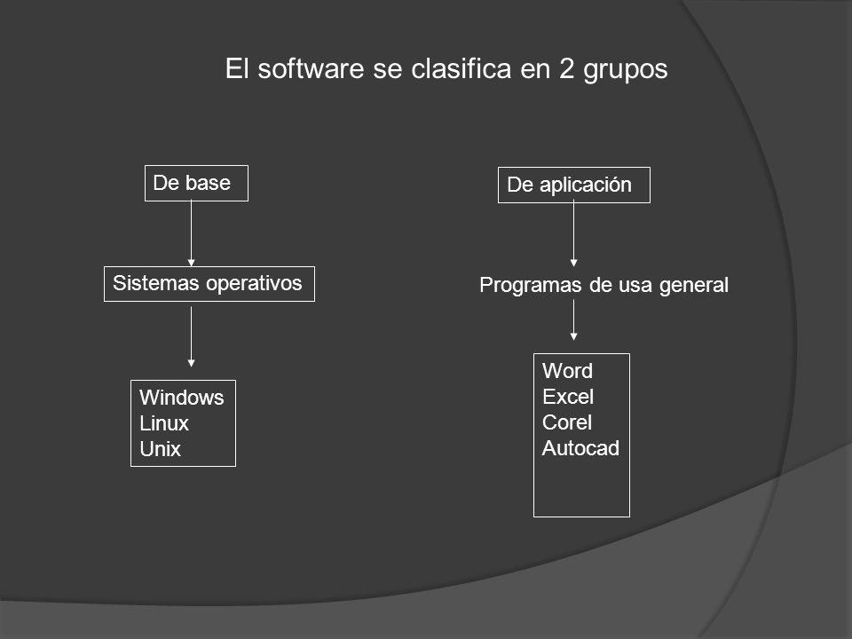 El software se clasifica en 2 grupos