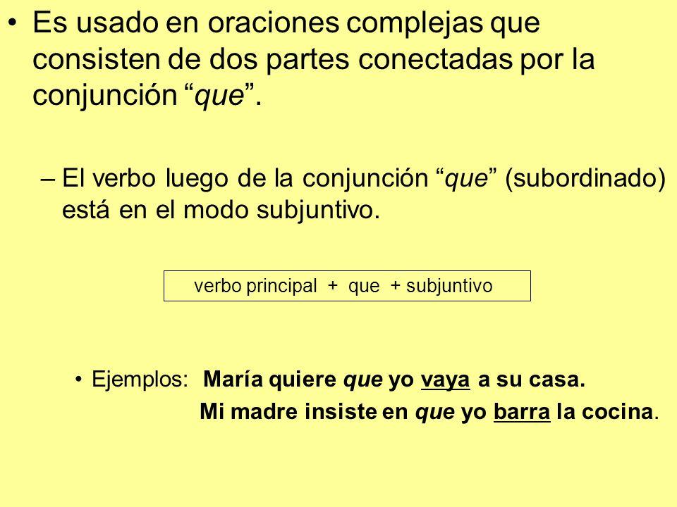 Es usado en oraciones complejas que consisten de dos partes conectadas por la conjunción que .