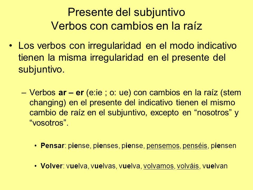 Presente del subjuntivo Verbos con cambios en la raíz