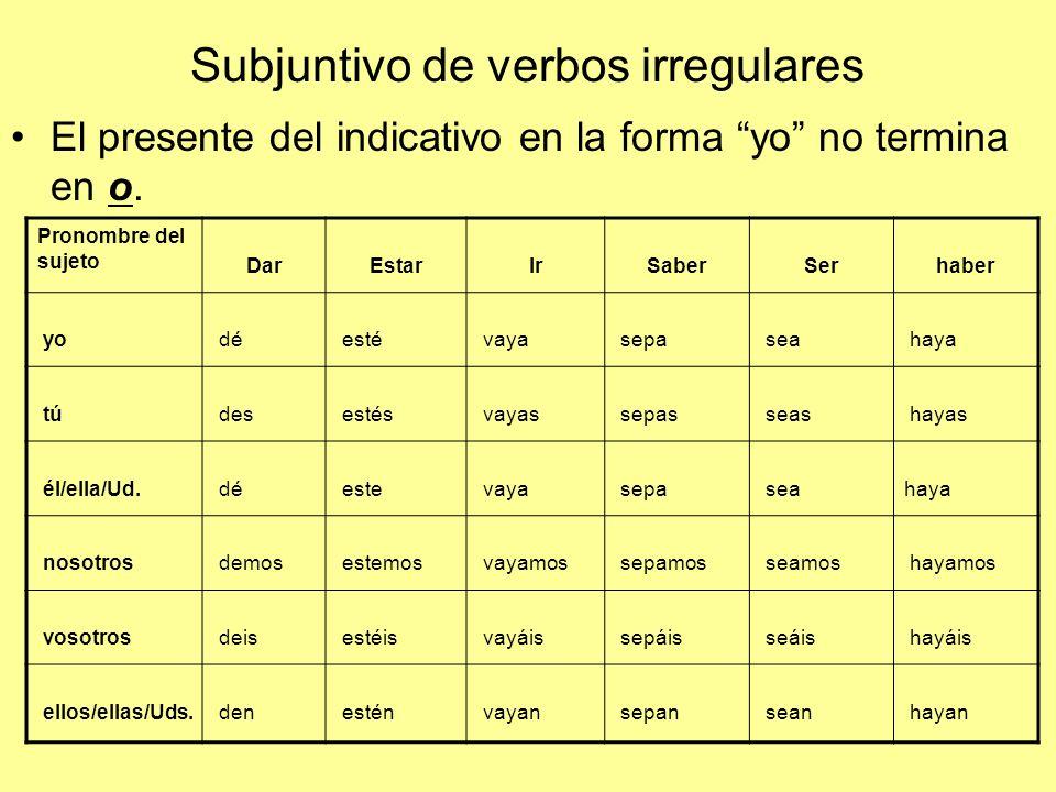 Subjuntivo de verbos irregulares