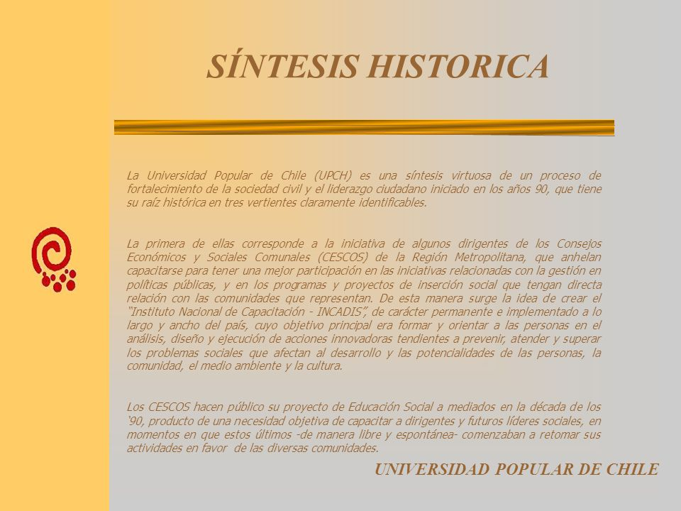 SÍNTESIS HISTORICA UNIVERSIDAD POPULAR DE CHILE