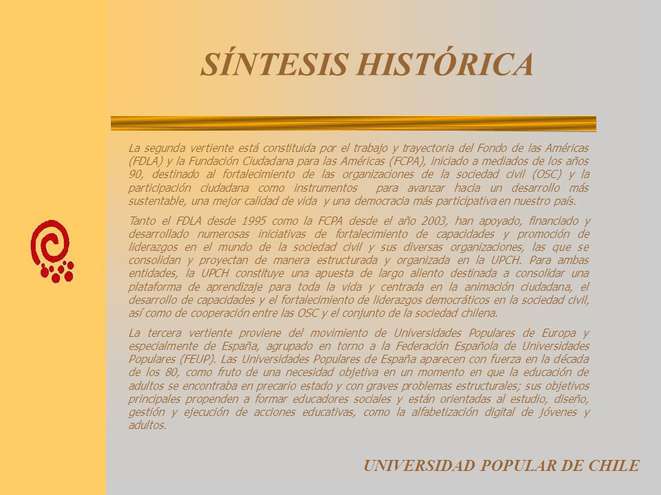 SÍNTESIS HISTÓRICA UNIVERSIDAD POPULAR DE CHILE