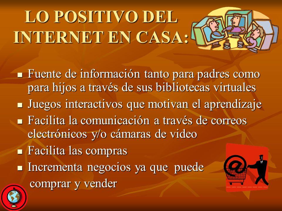 LO POSITIVO DEL INTERNET EN CASA: