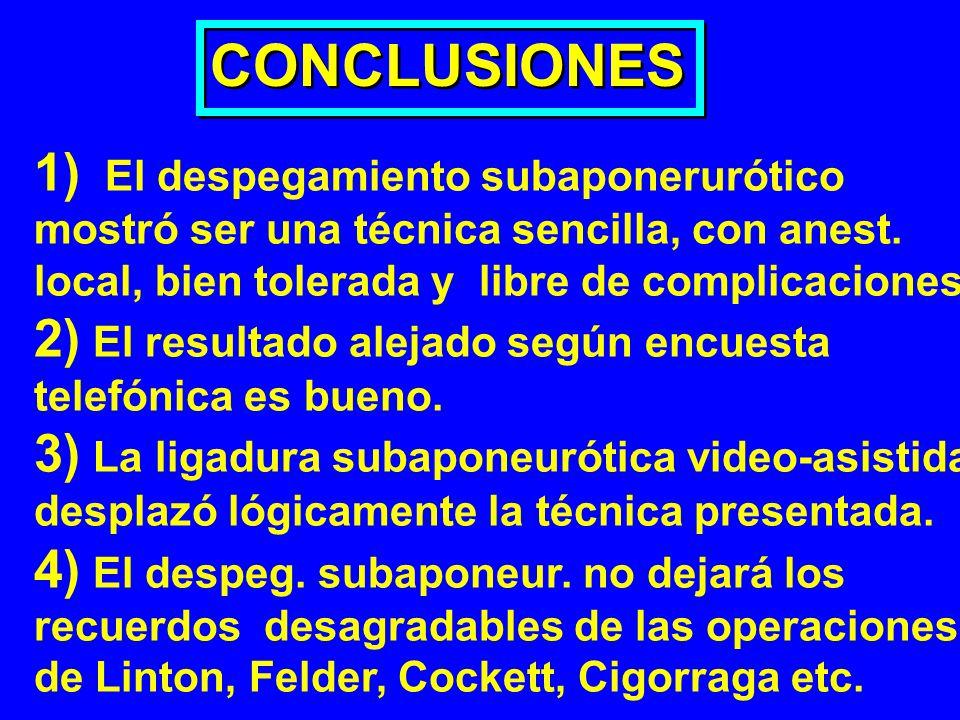 CONCLUSIONES 1) El despegamiento subaponerurótico
