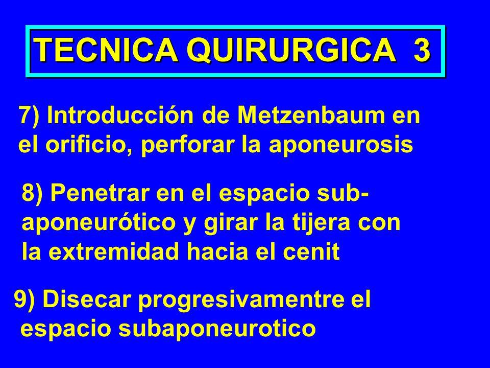 TECNICA QUIRURGICA 3 7) Introducción de Metzenbaum en