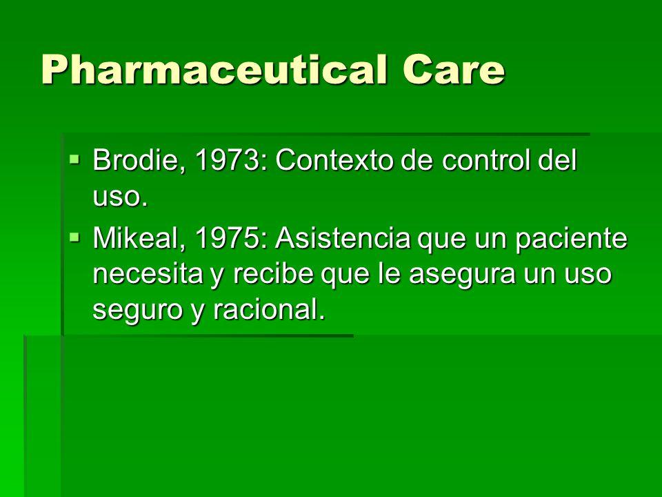 Pharmaceutical Care Brodie, 1973: Contexto de control del uso.