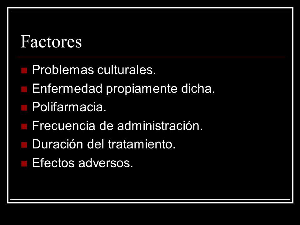 Factores Problemas culturales. Enfermedad propiamente dicha.