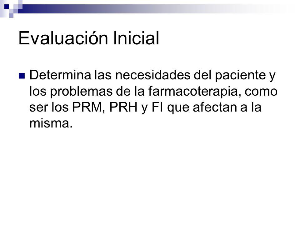 Evaluación Inicial Determina las necesidades del paciente y los problemas de la farmacoterapia, como ser los PRM, PRH y FI que afectan a la misma.