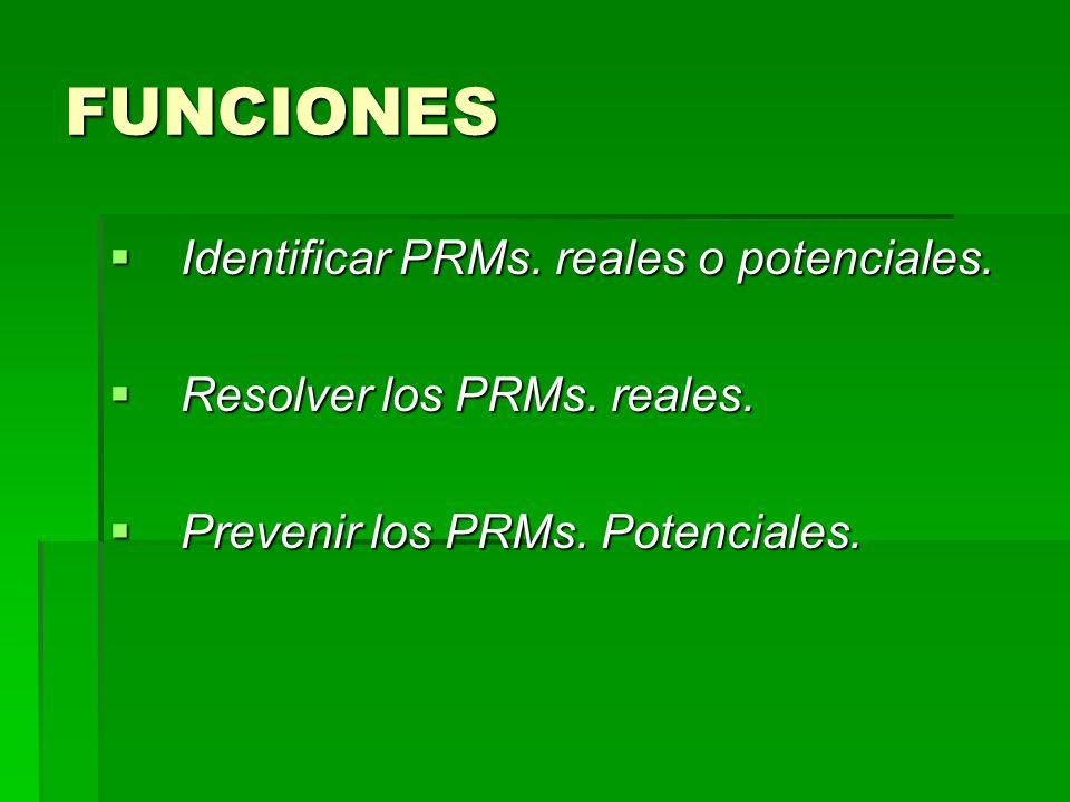 FUNCIONES Identificar PRMs. reales o potenciales.