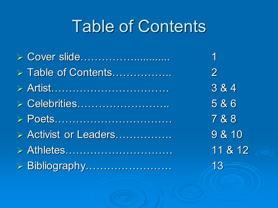 Table of Contents Cover slide……………............ 1