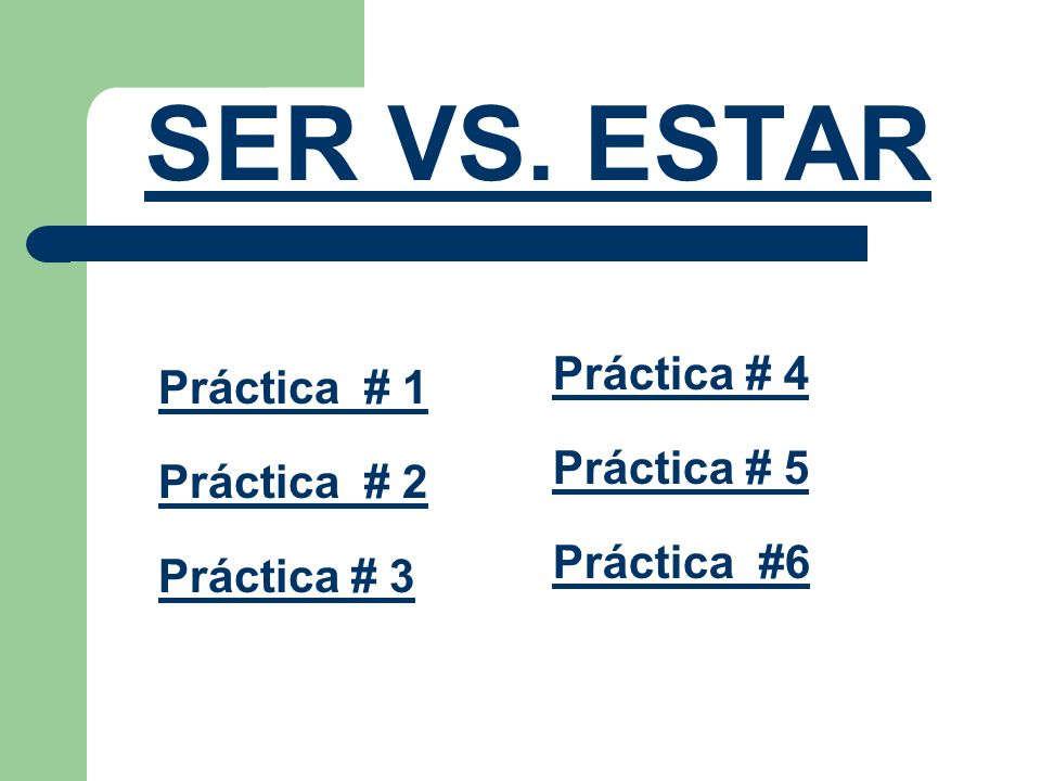 SER VS. ESTAR Práctica # 4 Práctica # 1 Práctica # 5 Práctica # 2