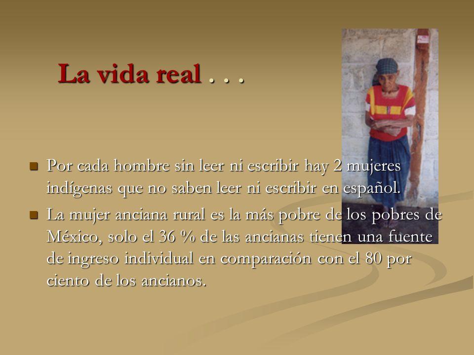 La vida real . . . Por cada hombre sin leer ni escribir hay 2 mujeres indígenas que no saben leer ni escribir en español.