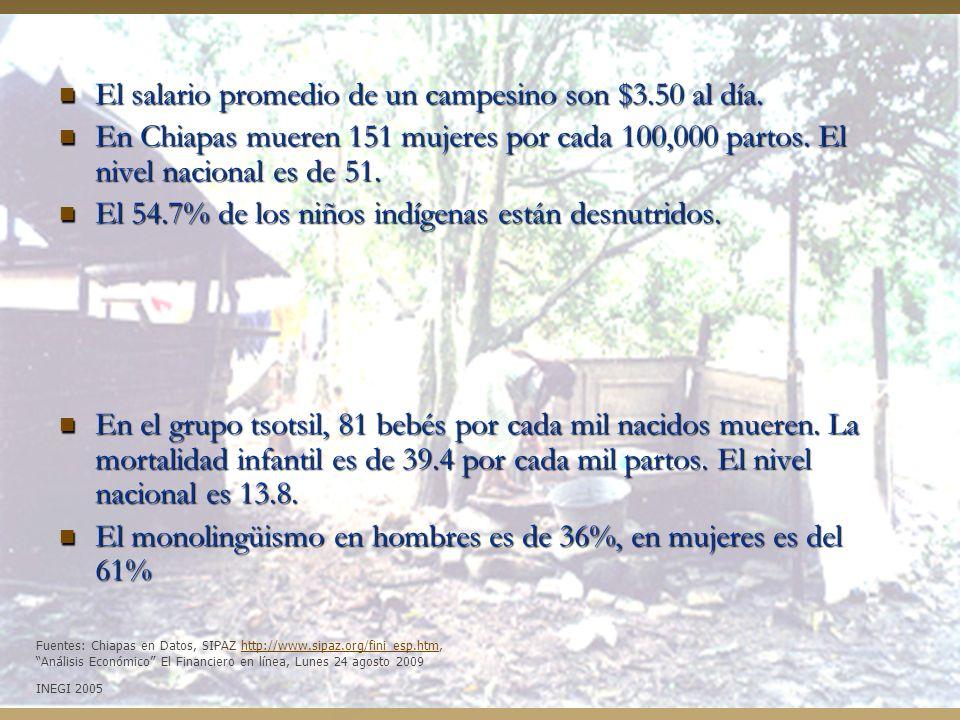 El salario promedio de un campesino son $3.50 al día.