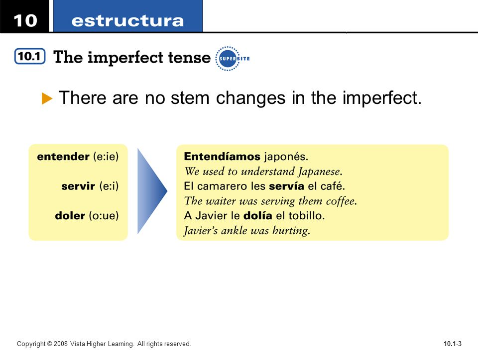 There are no stem changes in the imperfect.