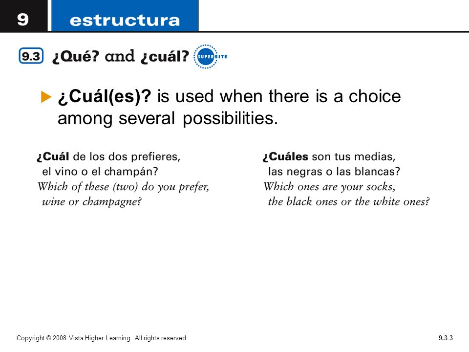 ¿Cuál(es) is used when there is a choice among several possibilities.