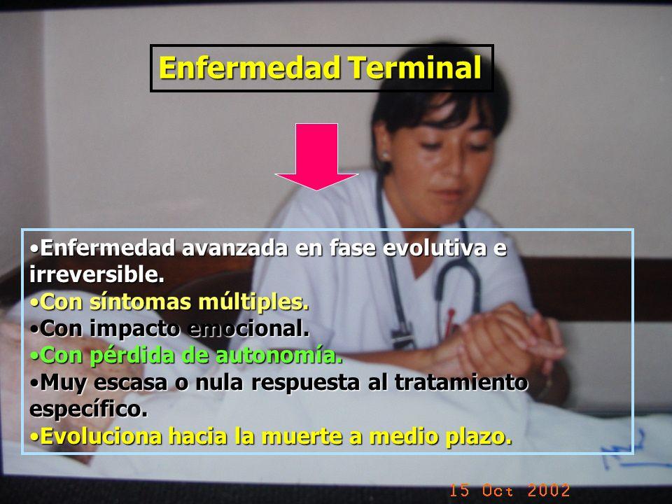 Enfermedad Terminal Enfermedad avanzada en fase evolutiva e irreversible. Con síntomas múltiples. Con impacto emocional.