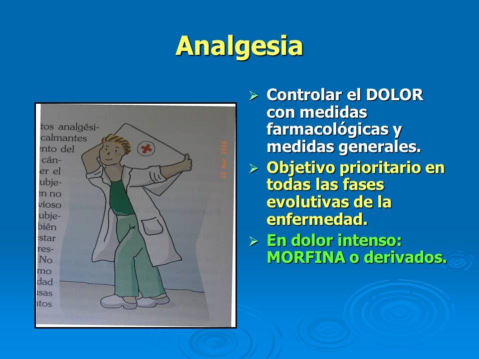 Analgesia Controlar el DOLOR con medidas farmacológicas y medidas generales. Objetivo prioritario en todas las fases evolutivas de la enfermedad.