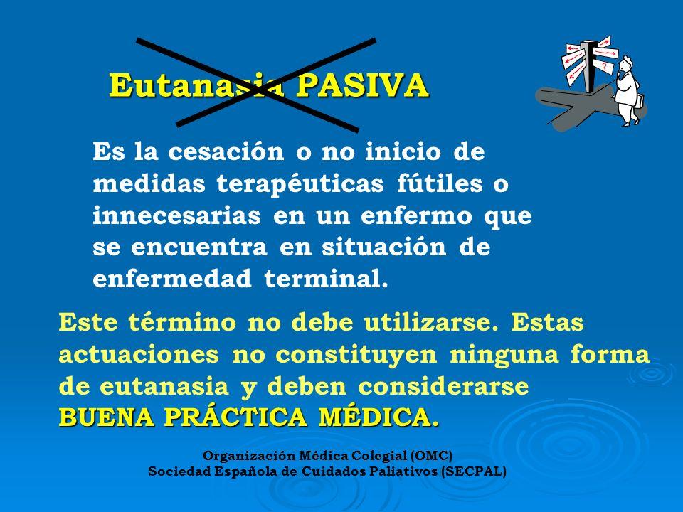 Eutanasia PASIVA Es la cesación o no inicio de