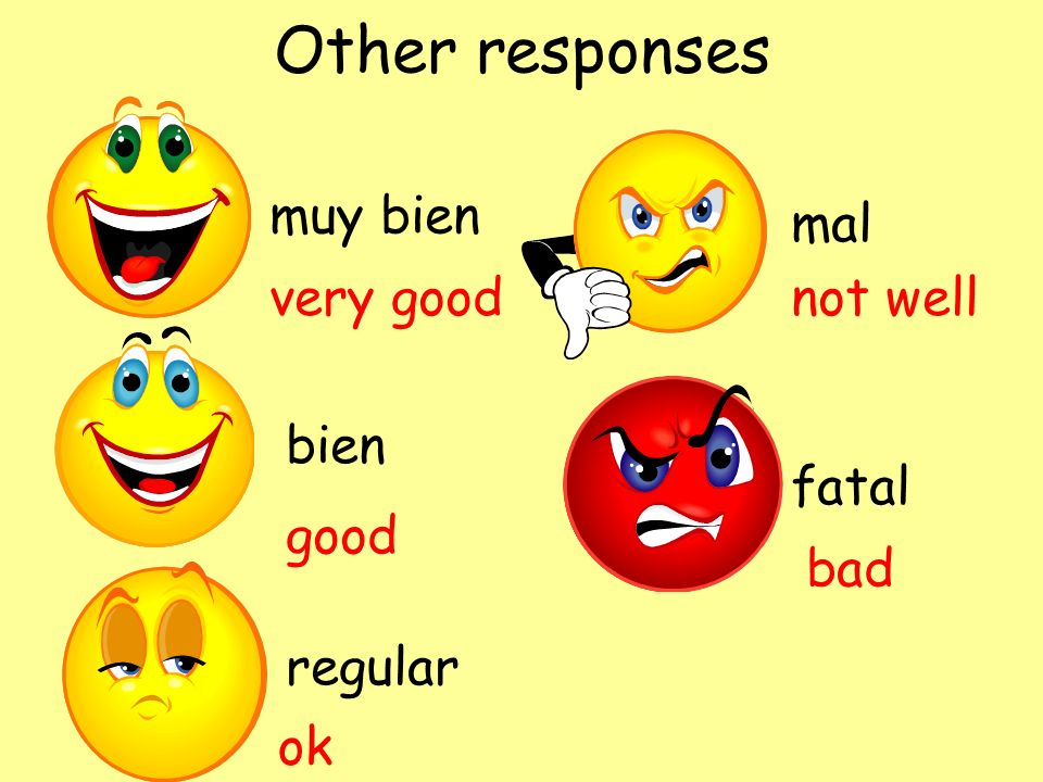 Other responses muy bien mal very good not well bien fatal good bad