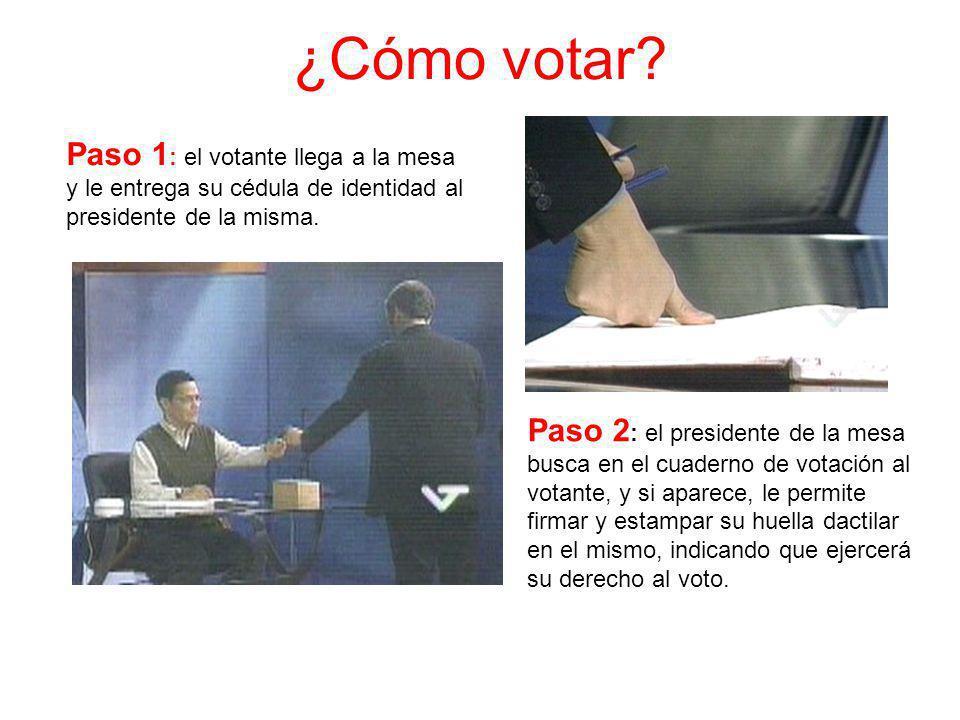 ¿Cómo votar Paso 1: el votante llega a la mesa y le entrega su cédula de identidad al presidente de la misma.