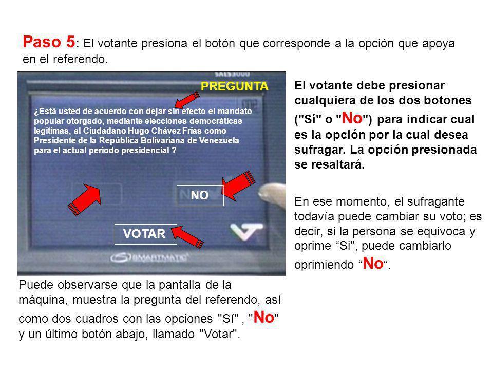 Paso 5: El votante presiona el botón que corresponde a la opción que apoya en el referendo.