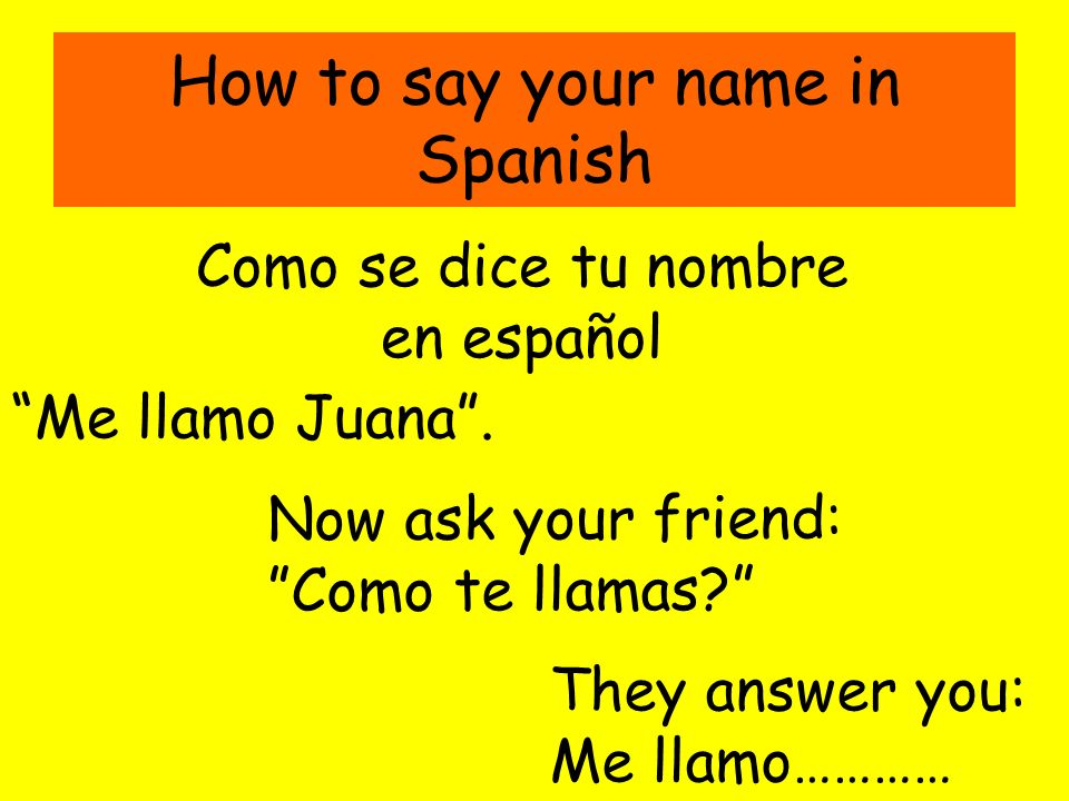 How to say your name in Spanish