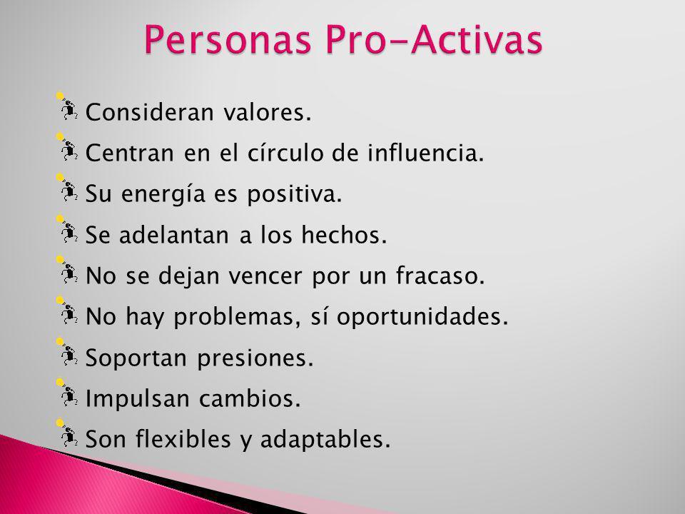 Personas Pro-Activas Consideran valores.