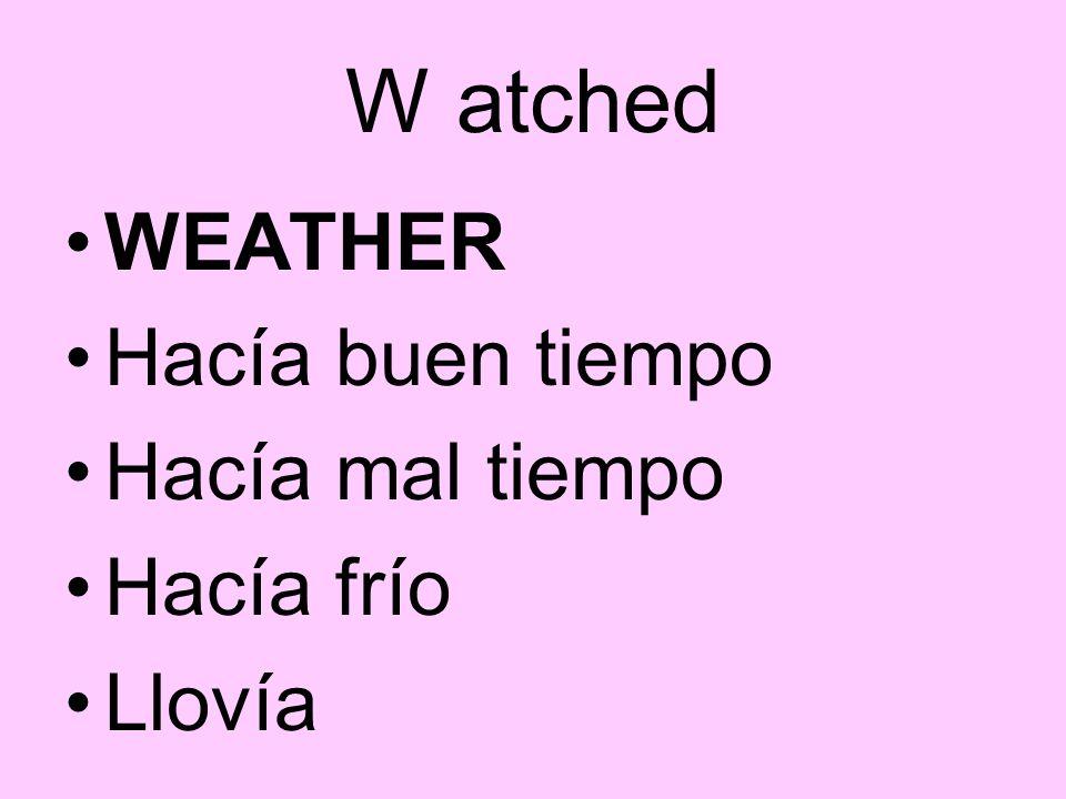 W atched WEATHER Hacía buen tiempo Hacía mal tiempo Hacía frío Llovía