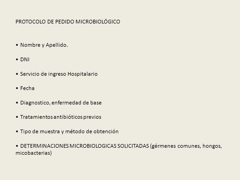 PROTOCOLO DE PEDIDO MICROBIOLÓGICO