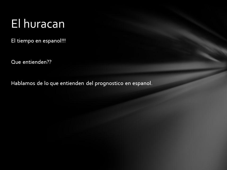 El huracan El tiempo en espanol!!. Que entienden .
