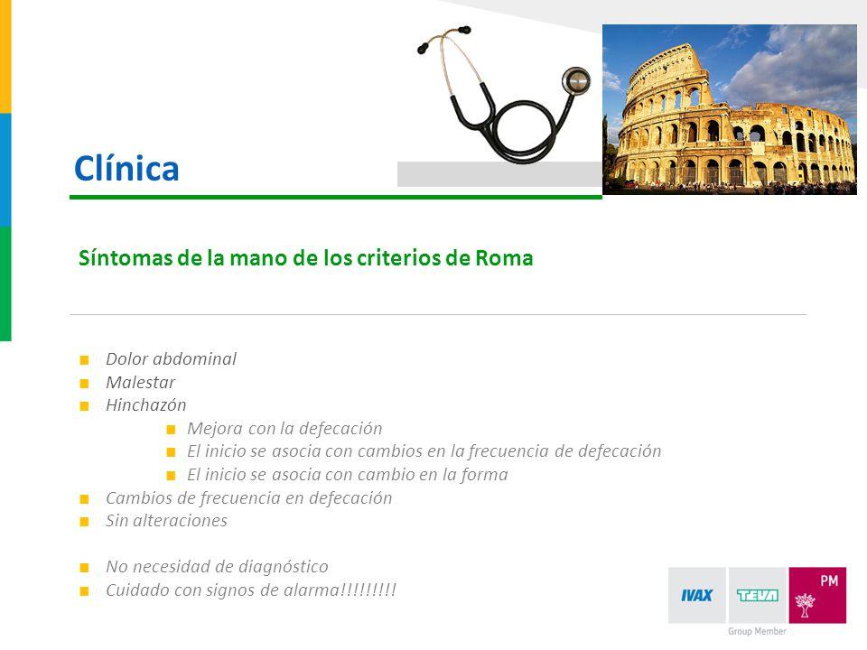 Clínica Síntomas de la mano de los criterios de Roma Dolor abdominal