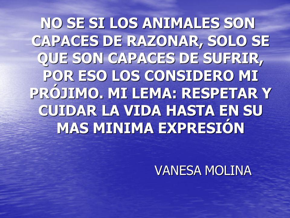 NO SE SI LOS ANIMALES SON CAPACES DE RAZONAR, SOLO SE QUE SON CAPACES DE SUFRIR, POR ESO LOS CONSIDERO MI PRÓJIMO. MI LEMA: RESPETAR Y CUIDAR LA VIDA HASTA EN SU MAS MINIMA EXPRESIÓN