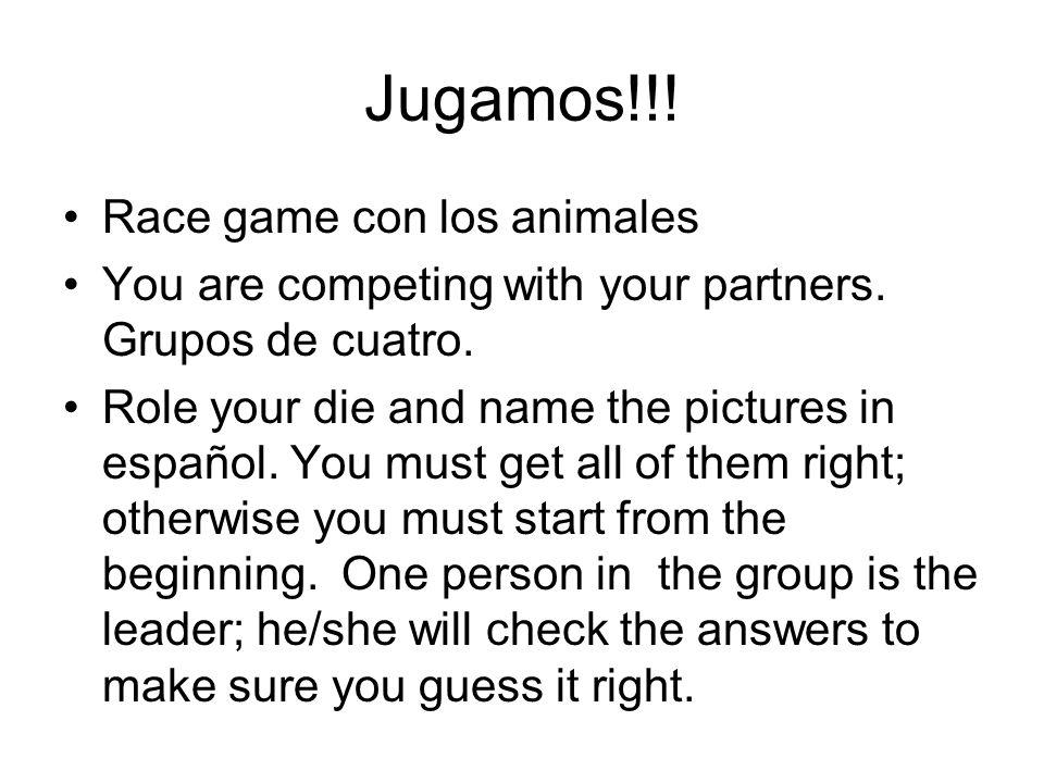 Jugamos!!! Race game con los animales