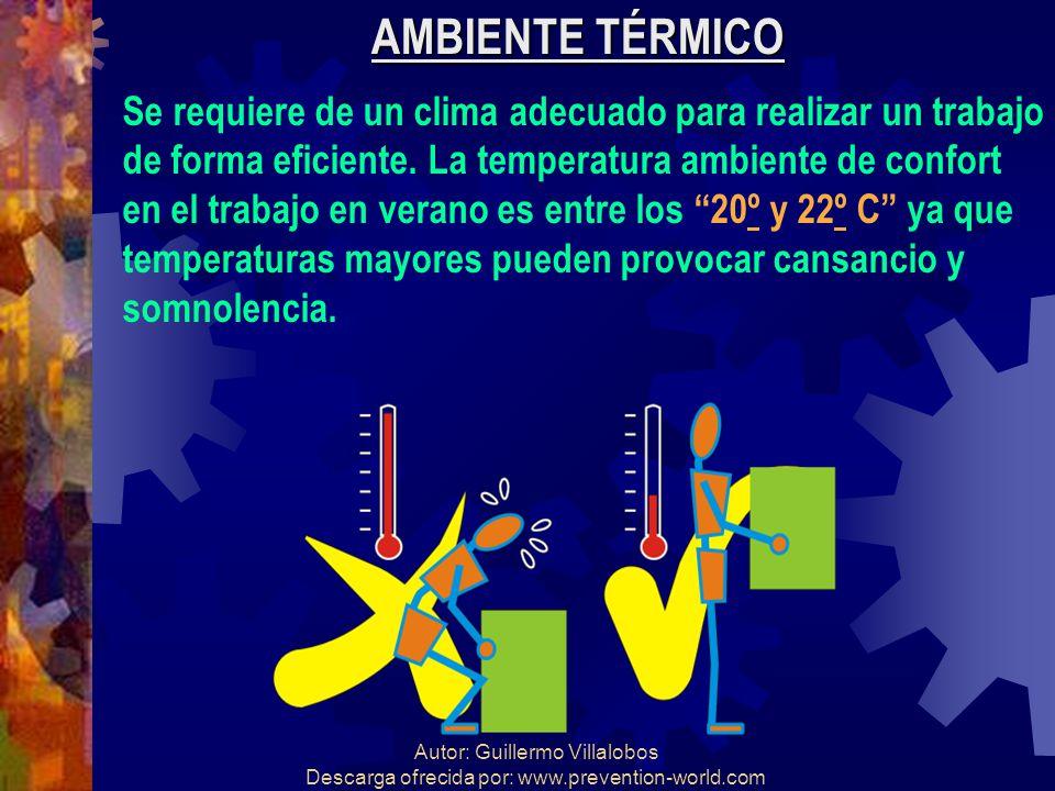 AMBIENTE TÉRMICO Se requiere de un clima adecuado para realizar un trabajo. de forma eficiente. La temperatura ambiente de confort.